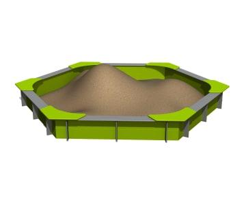 Hexagonal sandkasse i plast