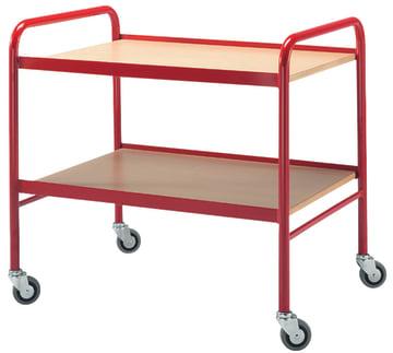Trillebord i stål/tre  Rød