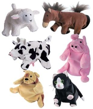 Hånddukker dyr, sett med 6 stk.