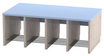 Trio garderobebenk, 4 plasser. Blå, sittehøyde 26 cm