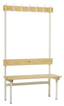 Enkel garderobebenk med knaggrekke, gulvmodell. 2 m.