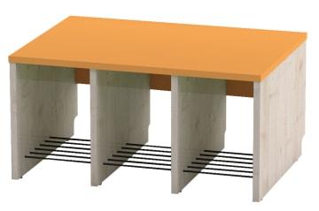 Trio garderobebenk, 3 plasser. Oransje, sittehøyde 35 cm
