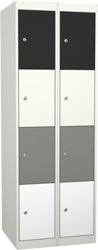 Garderobe i stål, 8 rom. 60 cm, rett tak