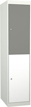 Garderobe i stål, 2rom med dører. 40 cm, rett tak