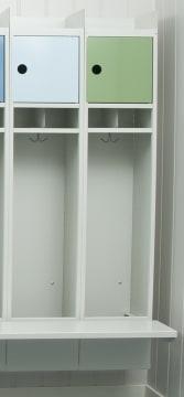 Basis stålgarderobe med benk og dør, 2 plasser