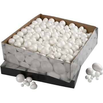 Isoporkuler og -egg, 1,5-6,1cm, 550 ass.