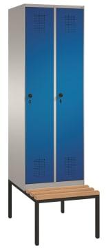 Garderobeskap 2 søyler m/ benk  B-H-D 610x2090x500/815 mm.