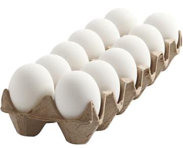 Egg, plast, H: 6 cm, hvit, 12stk.