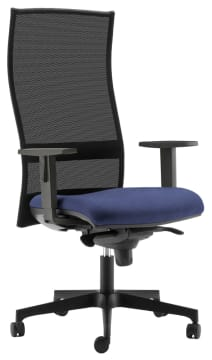 Kasta kontorstol m/armlene, sort/blå