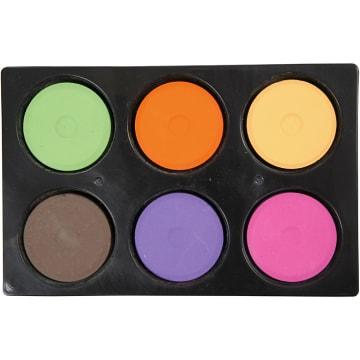 Vannfarge i palett, D:57mm, H:19mm, 6 ass, suppl. farger