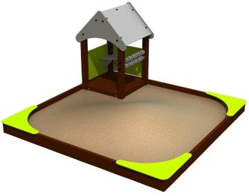 Sandkasse med hus, vedlikeholdsfritt