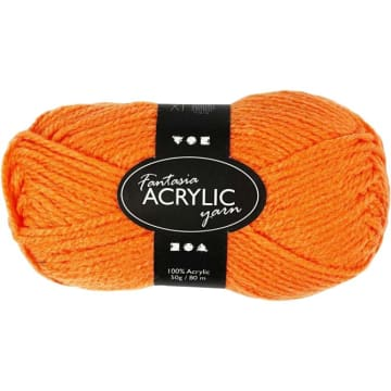 Fantasia Akrylgarn, L:80 m, 50 g, neon orange
