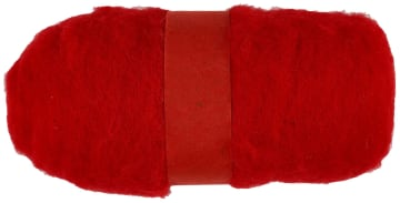 Kardet ull, rød, 100g