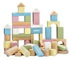 Byggeklosser i tre, pastellfarger. 60 deler