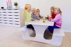 Vegghengt bord med benk, SFO størrelse, 140 cm