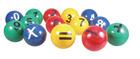 Baller med tall 14 stk.  fra 0-9 og 4 regne tegn