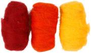 Kardet ull, 3x10 g, gul/orange harmoni
