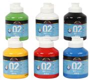 A-Color akrylmaling - fargeskole, 6x500 ml, primærfarger