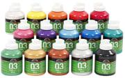 A-Color akrylmaling, 500 ml x 15, metallic, ass. Farger