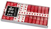 Dekorasjonsbånd, B:10mm, 12x1 m, rød/hvit harmoni