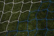 Fotballnett blå/hvit 732x244  3 mm nylon, D:80/200