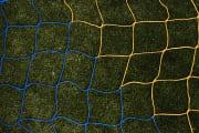 Fotballnett gul/blå 732x244  3 mm nylon, D:80/200