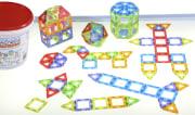 Magnetisk Polydron, Transparent, 128 deler i bøtte