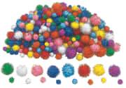 Glitterpomponger, 300 stk. ass.