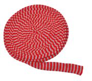 Tubestrikk 3 cm rød/grå. 10 m.