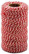 Bomullssnøre rød/hvit 2 mm. 100 m.
