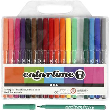 Colortime Tusj, 2mm strek, 18 ass, ass. Farger