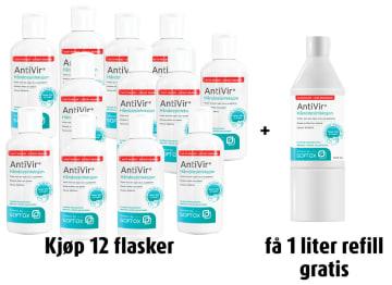 AntiVir Alkoholfri hånddesinfeksjon, 250 ml, 12 stk+ refill