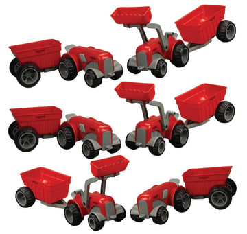 Ludius sett m/6 Ludius traktorer og 6 hengere