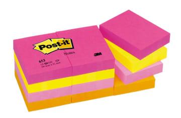 UTGÅTT POST-IT® notatblokk 653TF 38x51 neon frg (12 pk)
