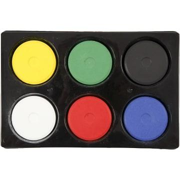 Vannfarge i palett, D:57mm, H:19mm, 6 ass, primærfarger