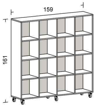 Kubus Reol med bakplate, 16 rom (4x4)