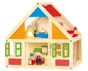 Dukkehus i tre inkl. møbler