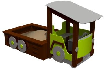 Lastebil med sandkasse, vedlikeholdsfri