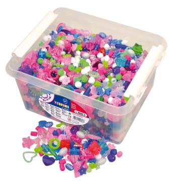 Perleboks med 3000 ass. perler i pastellfarger