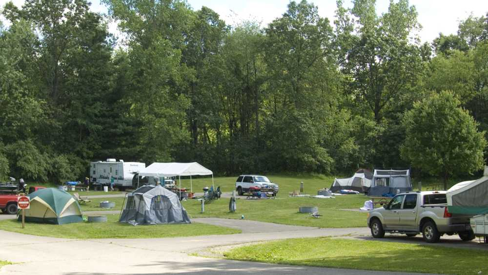 Tents and campers at Hayes State Park campground.