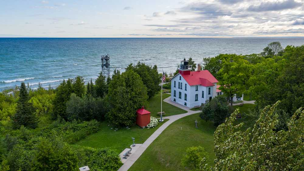 Aerial view of the Grand Traverse Lighthouse