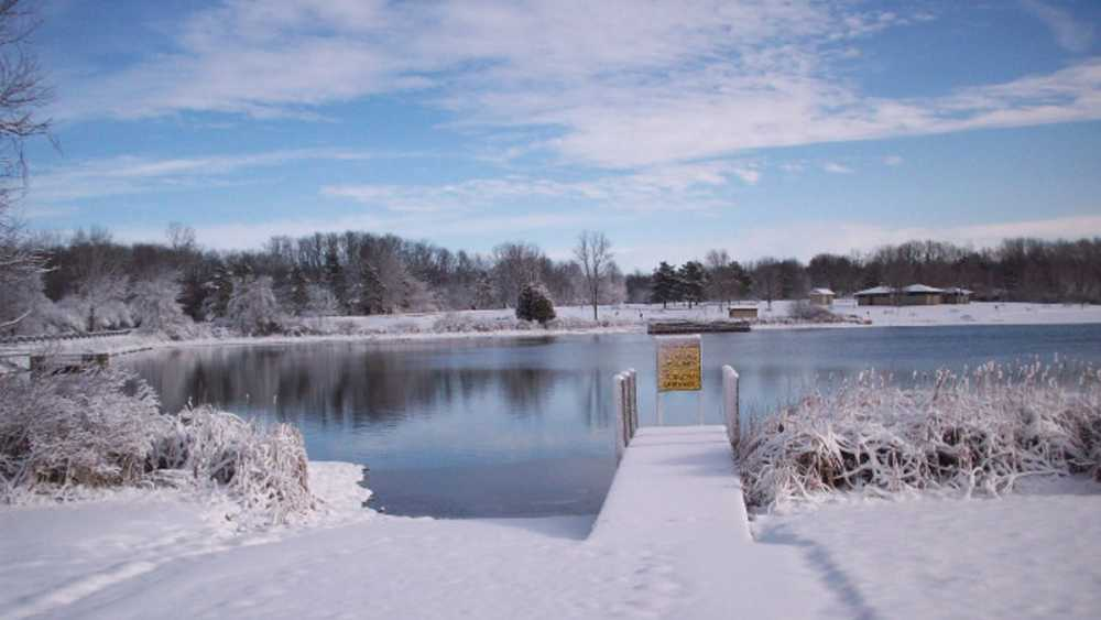 Metamora-Hadley boat launch covered in snow.