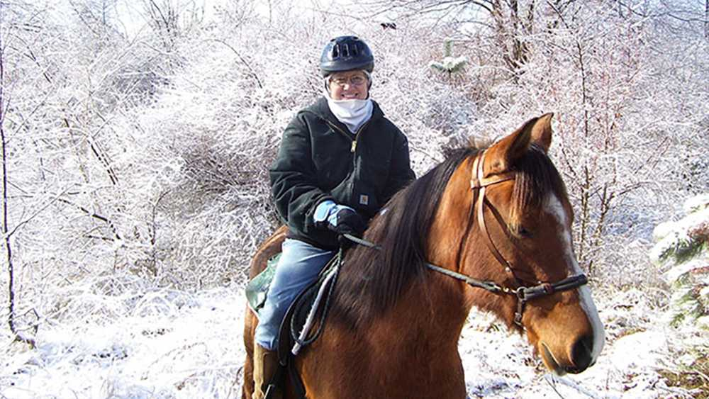 Horseback riding in winter