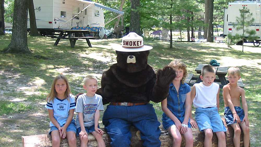 Smokey Bear and his friends