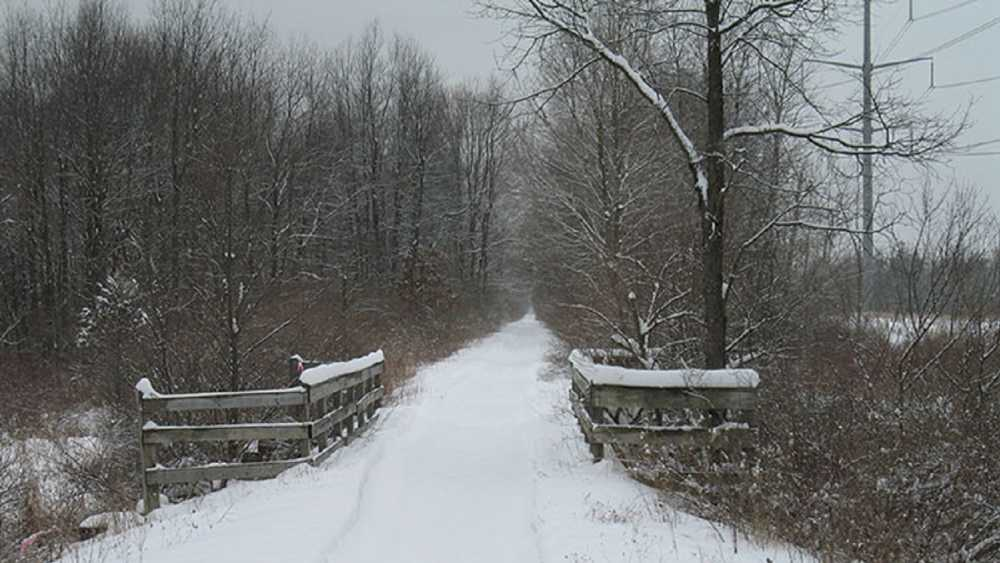 A snow covered bridge on Lakelands Trail