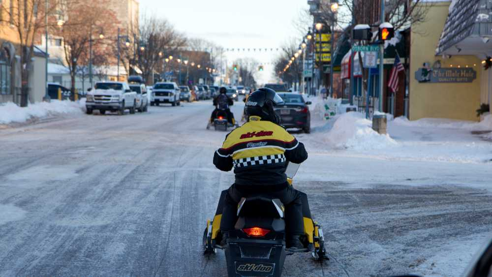 Downtown Snowmobile (Dr. Johnson Photography)