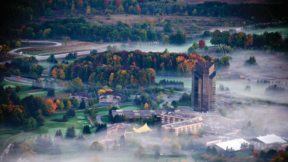 Aerial photo of Grand Traverse Resort and Spa in autumn