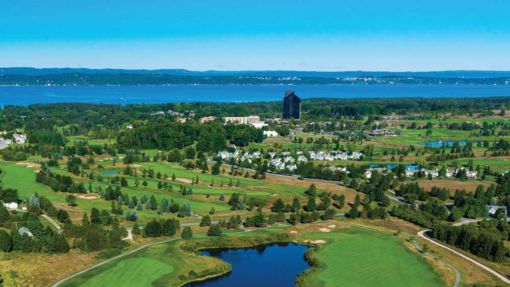 Aerial view of the golf courses at Grand Traverse Resort and Spa
