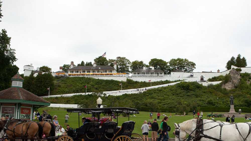 Fort Mackinac and horsecarrriages