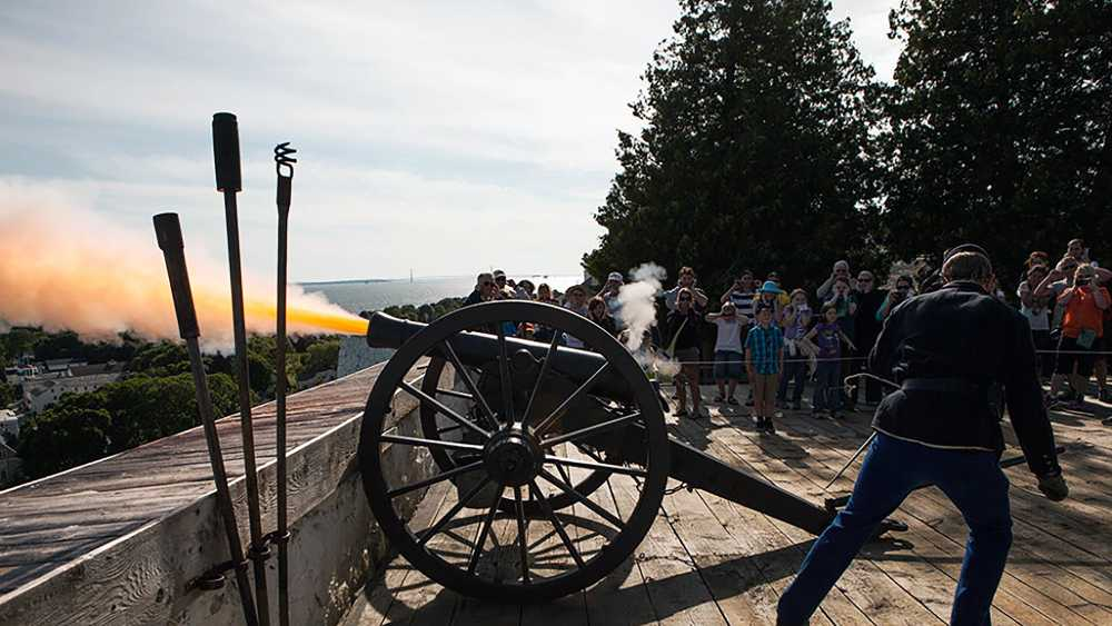 The iconic Fort Mackinac cannon.